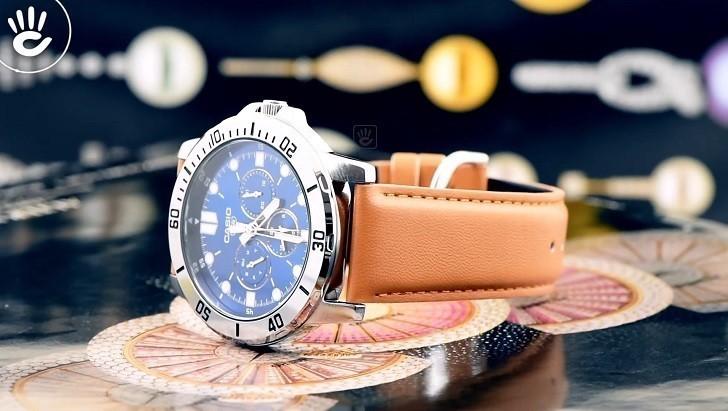 Đồng hồ Casio MTP-VD300L-2EUDF giá rẻ, ấn tượng mặt số xanh - Ảnh: 8