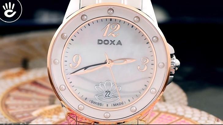 Đồng hồ Doxa D207RMW khảm xà cừ, đính ngọc trai độc đáo - Ảnh: 1