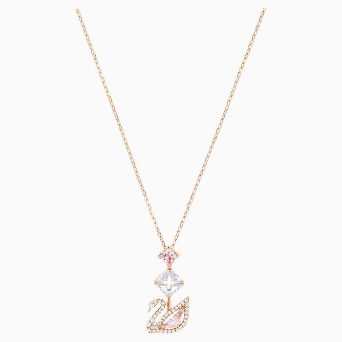 Swarovski Dazzling Swan Y Necklace Multi-Colored Rose-Gold Tone Plated