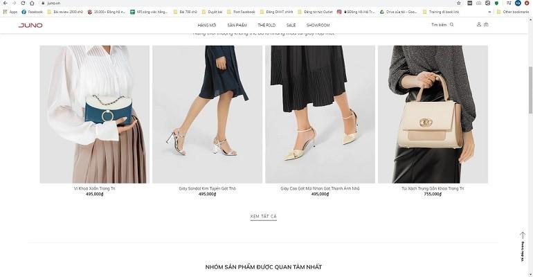 Giao diện website của thương hiệu Juno - Ảnh