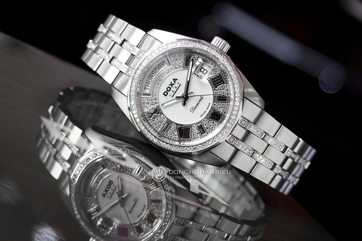 Đồng hồ Doxa D105SMW Thụy Sỹ, đính 258 viên kim cương thật - Ảnh: 3