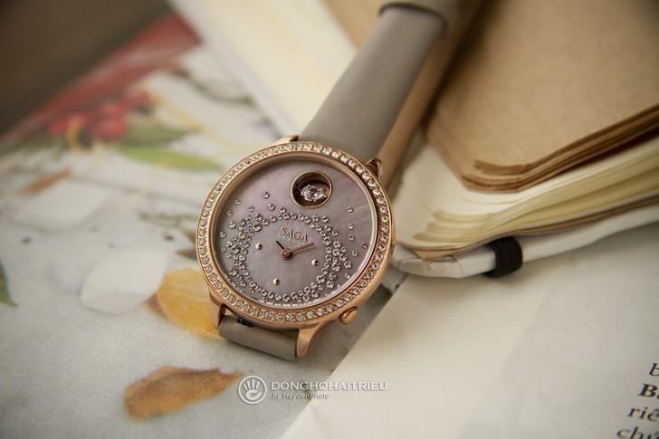 Đồng hồ Saga 53766 GPZMGGE-2 đính đá Swarovski cao cấp - Ảnh 8